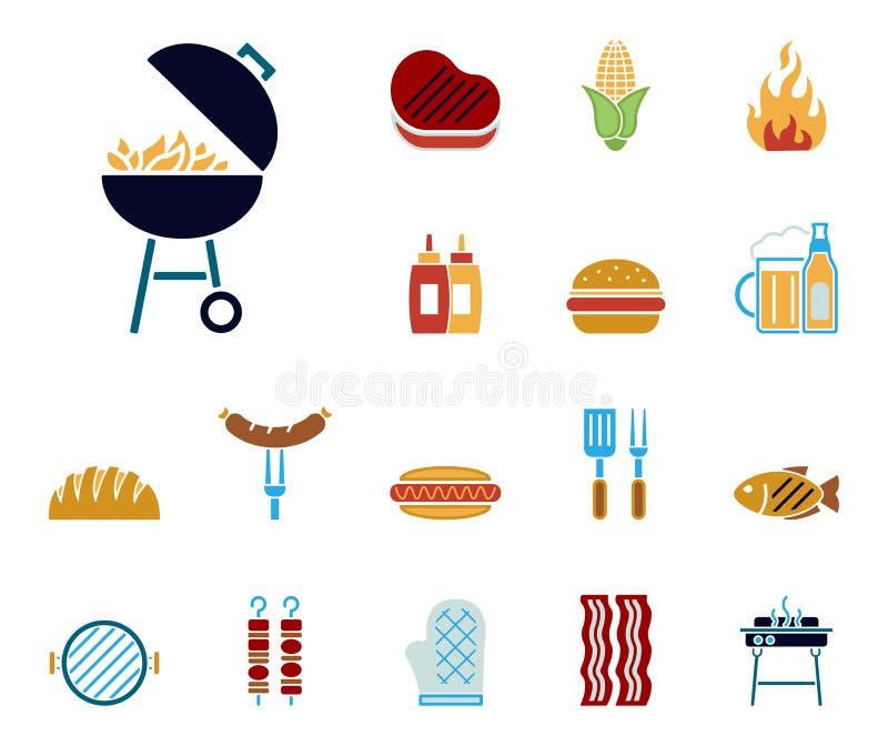 Grill & jedzenie ikony - Iconset - ilustracja wektor