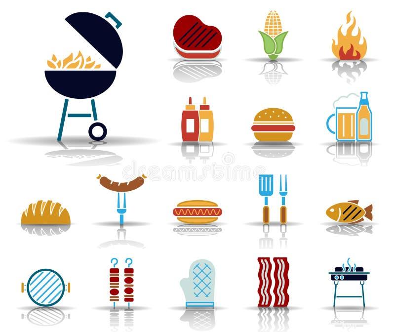 Grill & jedzenie ikony - Iconset - royalty ilustracja