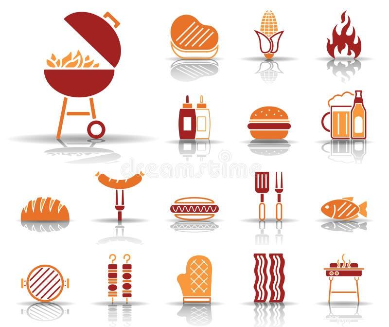 Grill & jedzenie ikony - Iconset - ilustracji