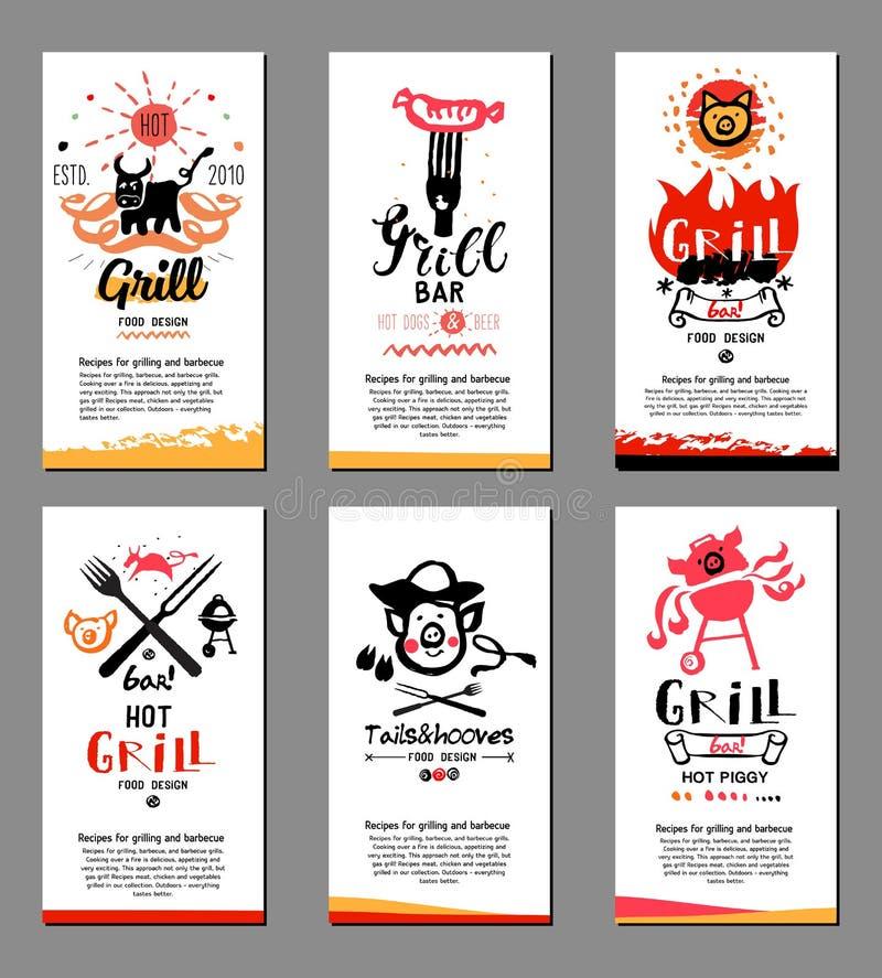 Grill karty i ilustracje royalty ilustracja