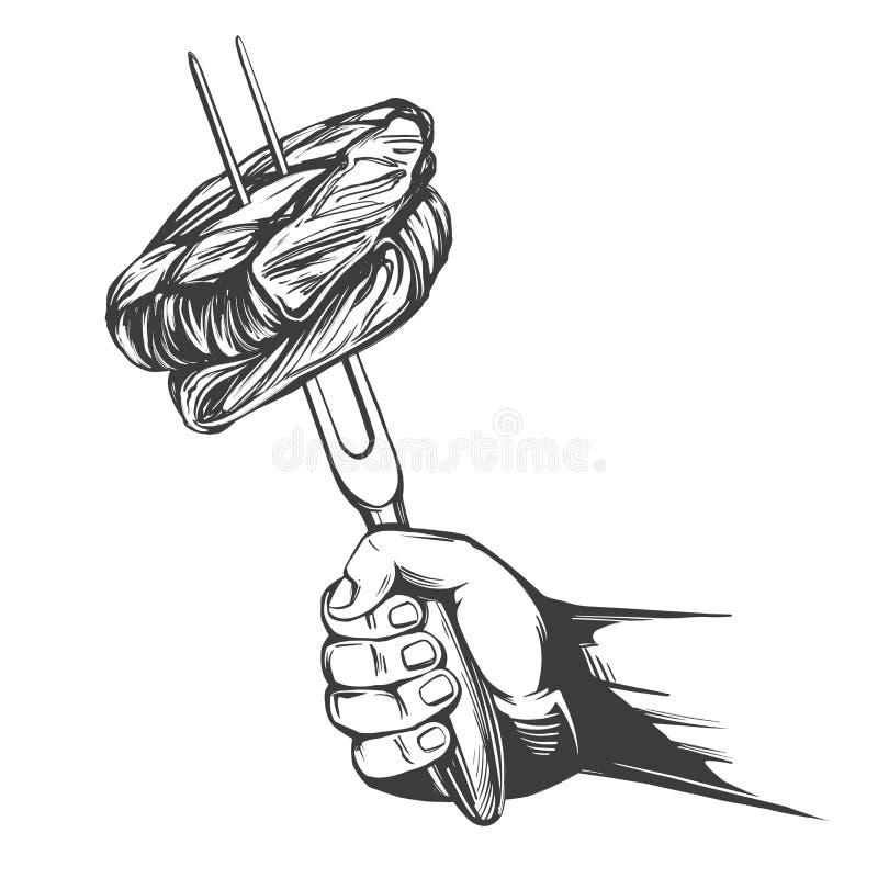 Grill, kawałki mięso na rozwidlenia mienia ręce, karmowy mięso, stku ręka rysujący wektorowy ilustracyjny realistyczny nakreśleni royalty ilustracja
