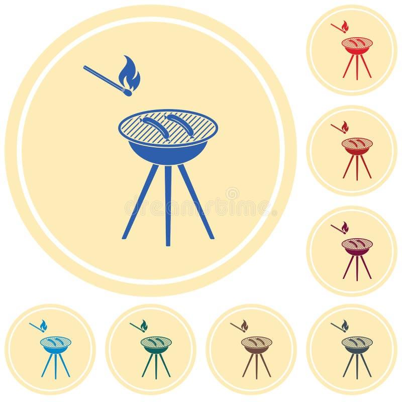 Grill kiełbasy ikona ilustracja wektor
