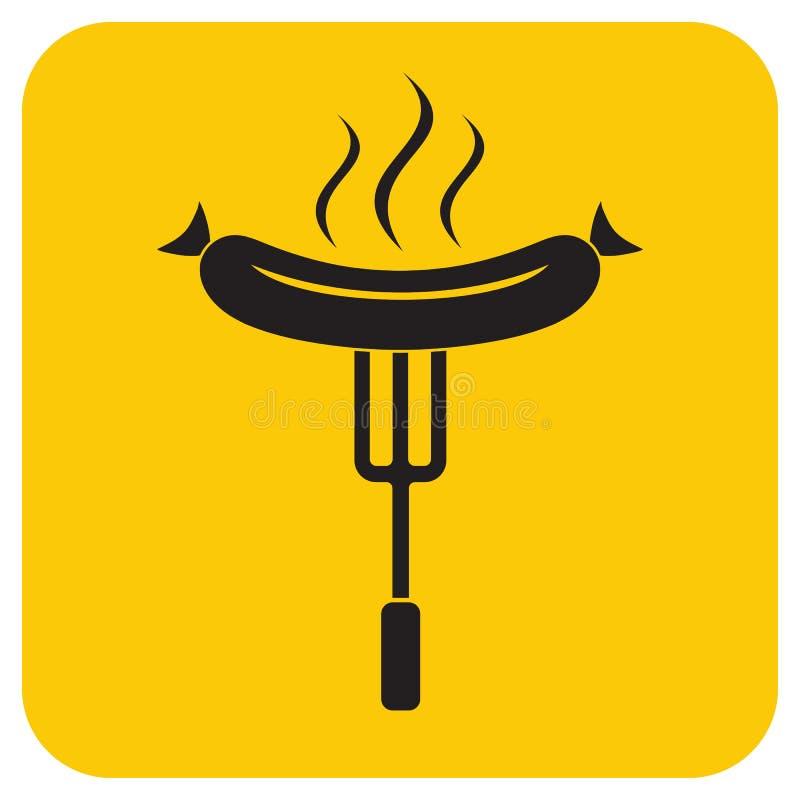 Grill kiełbasy ikona ilustracji