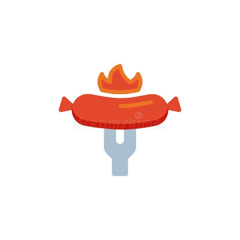 Grill kie?basiana p?aska ikona royalty ilustracja