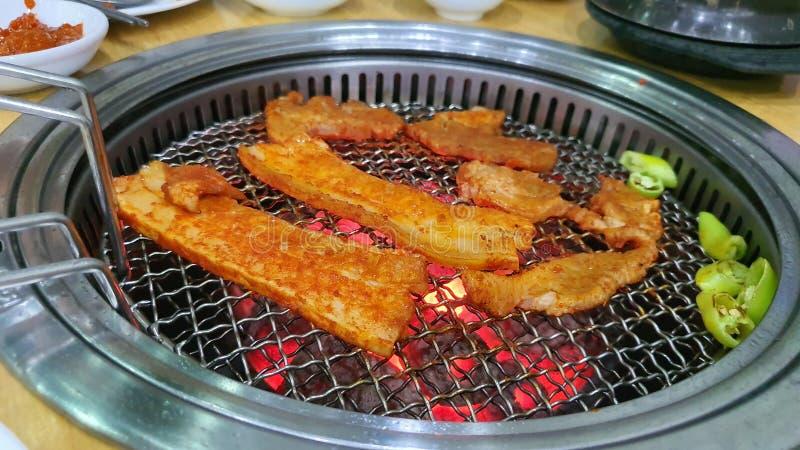Grill Korea wieprzowina jedzenie gorąca kolacja pyszny głodny olej zdrowy sos chili przepis obraz stock