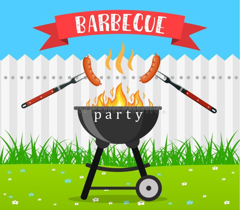 Grill kuchni i grilla naczynia ilustracja wektor