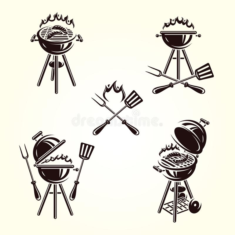 Grill labels and elements set. Collection icon grill. Vector. Illustration stock illustration