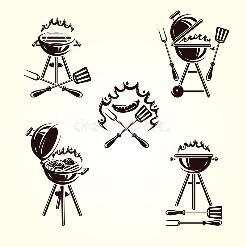 Grill labels and elements set. Collection icon grill. Vector. Illustration royalty free illustration