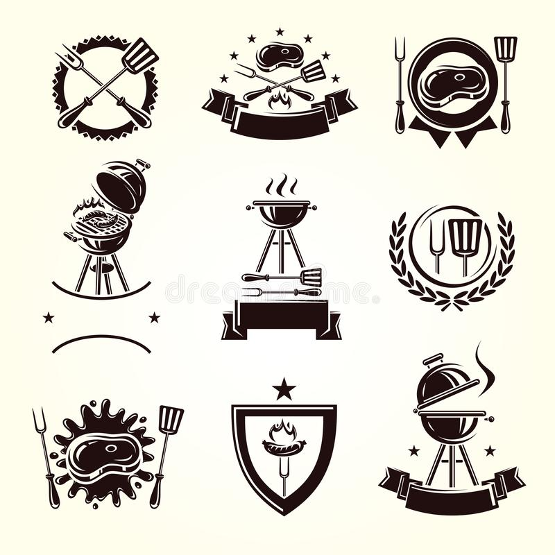 Grill labels and elements set. Collection icon grill. Vector. Illustration vector illustration