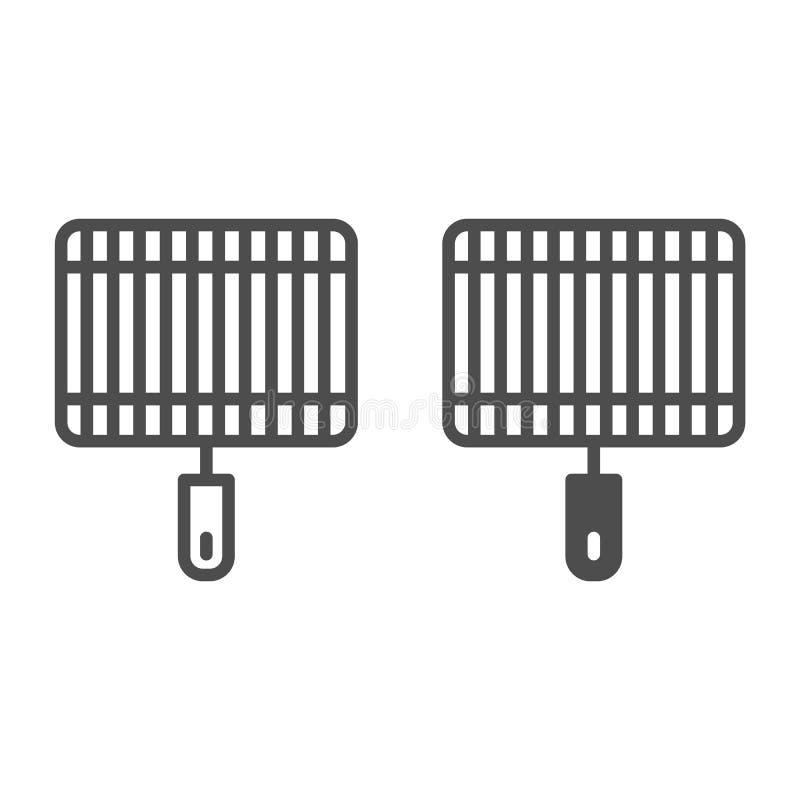 Grill linia i glif ikona Grill wektorowa ilustracja odizolowywająca na bielu Fryer konturu stylu projekt, projektujący dla sieci ilustracja wektor