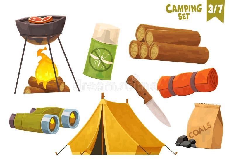 Grill lornetek noża obozu maty namiotowego komara łupki campingu repellent set ilustracji