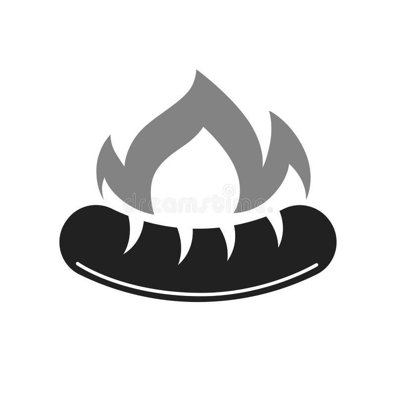 Grill lub bbq grilla gorąca kiełbasiana wektorowa ikona dla Bucher sklepu ilustracja wektor