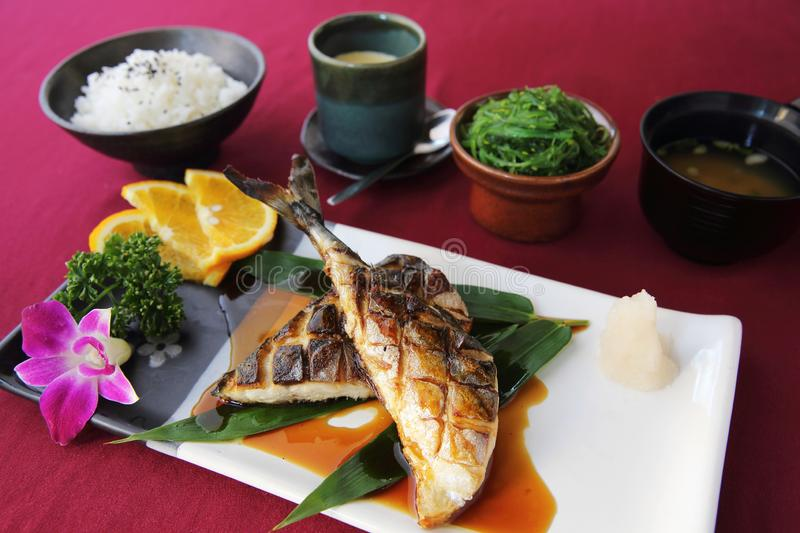 Grill Mackarel fish , japanese food stock image