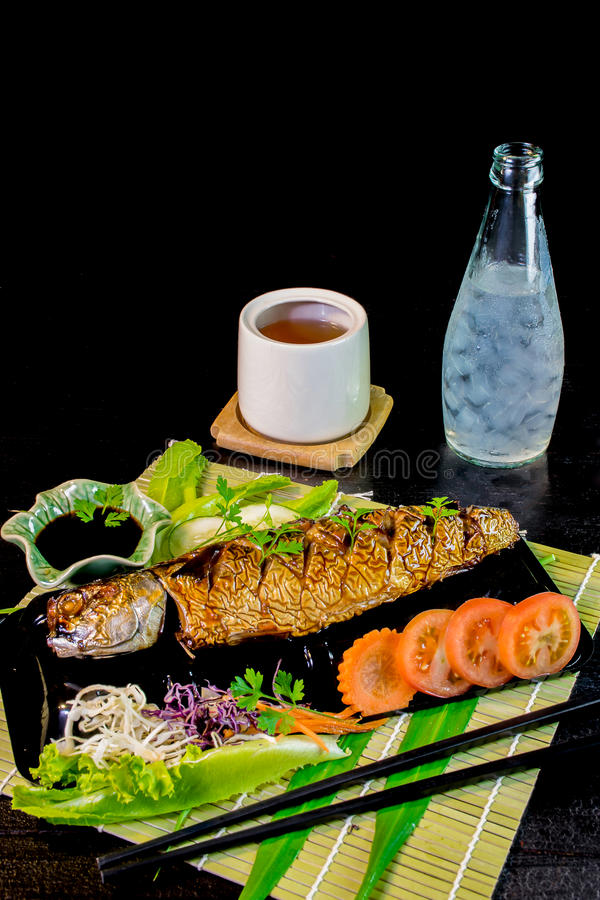 Grill Mackarel fish japanese food royalty free stock photo
