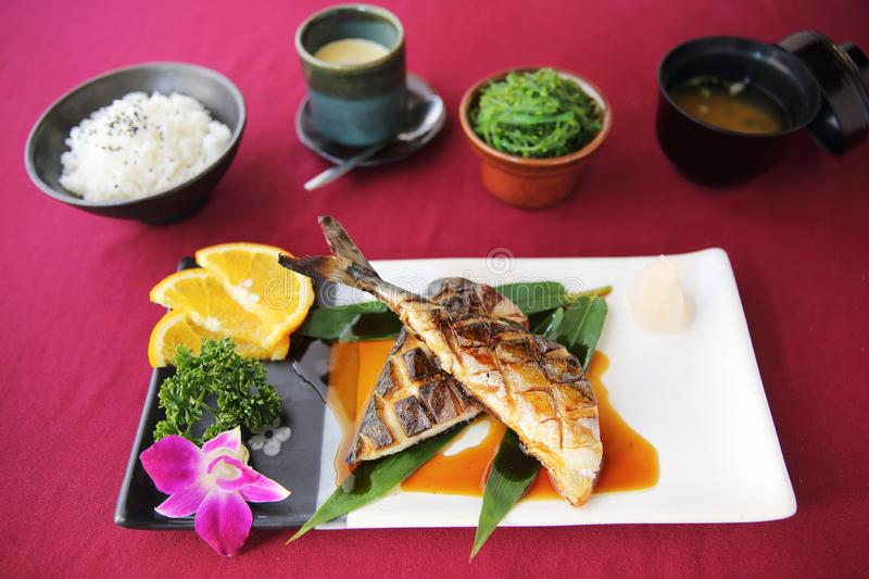 Grill Mackarel fish , japanese food stock photos
