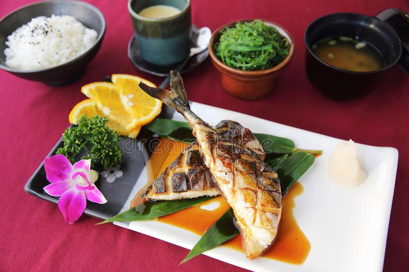Grill Mackarel fish , japanese food royalty free stock photography