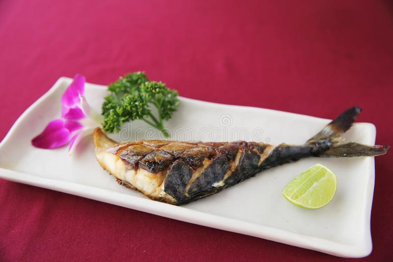 Grill Mackarel fish , japanese food royalty free stock image