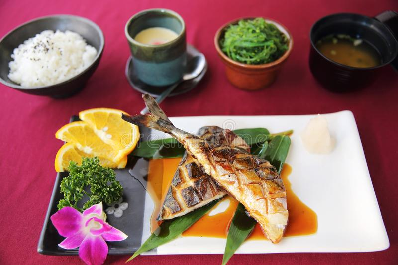 Grill Mackarel fish set , japanese food royalty free stock image
