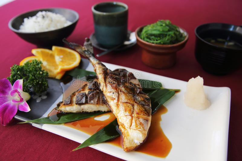 Grill Mackarel fish set , japanese food stock photos