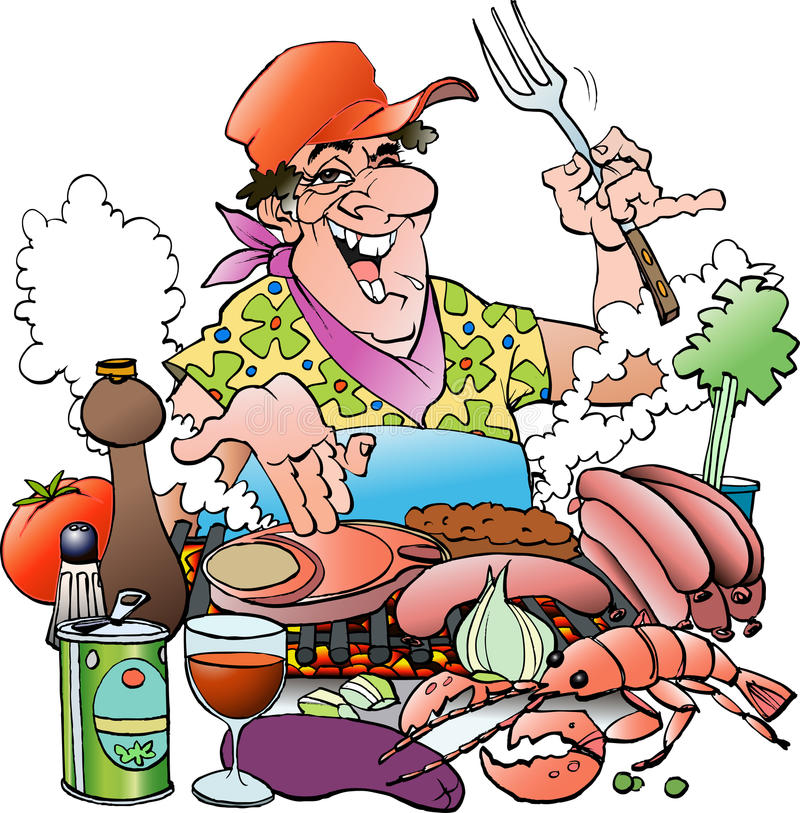 Free Grill Master Inviting To A Grill Party Stock Photo - 60151070