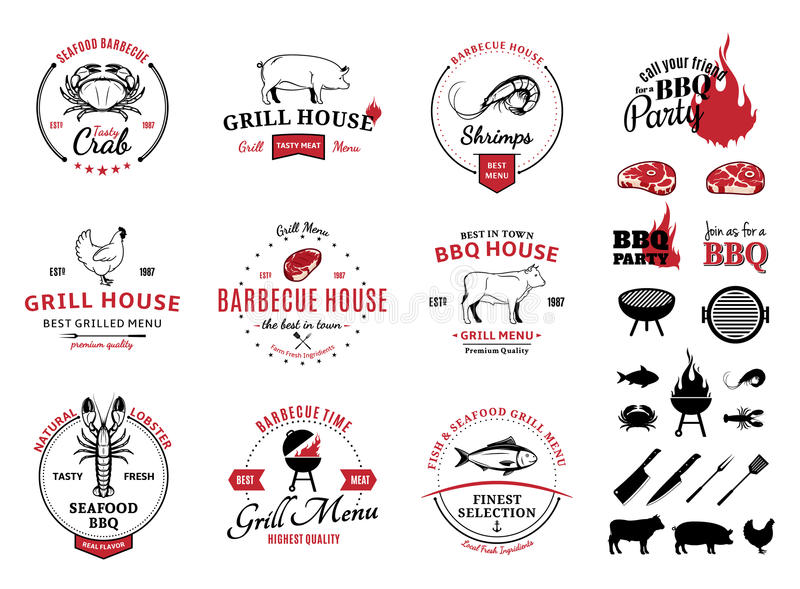 Grill, Meeresfrüchte-Logos, Aufkleber und Gestaltungselemente lizenzfreie abbildung