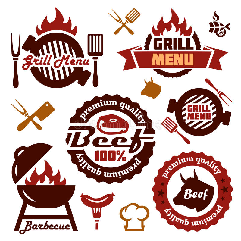 Grill menu design elements set stock photography