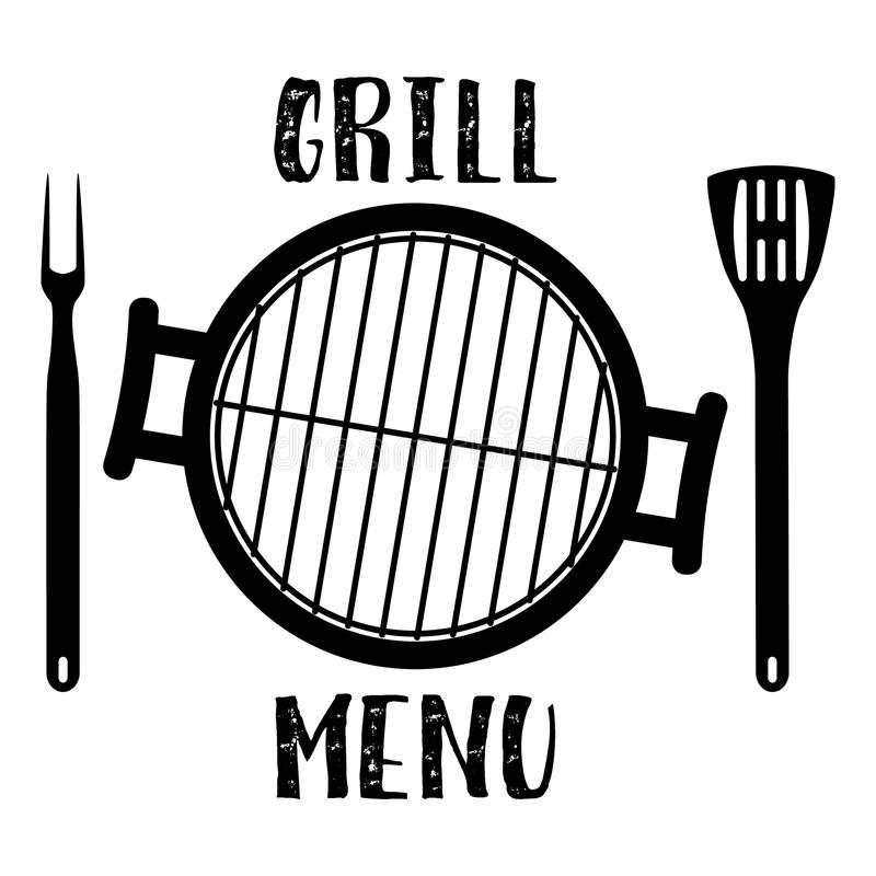 Grill menysymbolet royaltyfri illustrationer