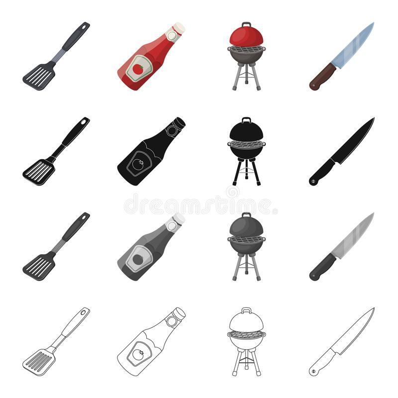 Grill, Messer, Rest und andere Netzikone in der Karikaturart Blatt, Küche, Plastik, Ikonen in der Satzsammlung lizenzfreie abbildung