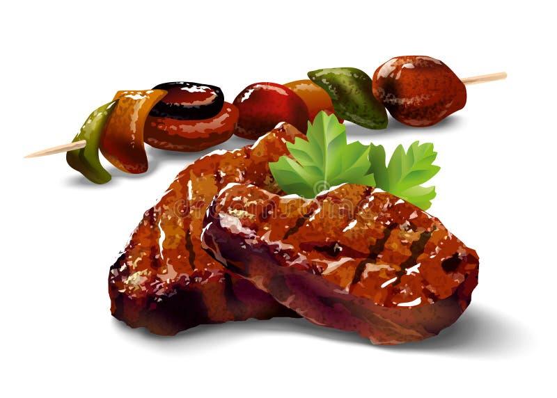 grill Mięso z warzywami ilustracja wektor