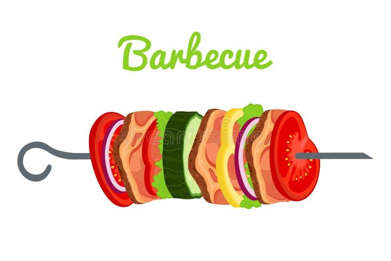 Grill mit Fleisch, Gemüse Gebratenes Fleisch für Picknick Auch im corel abgehobenen Betrag lizenzfreie abbildung