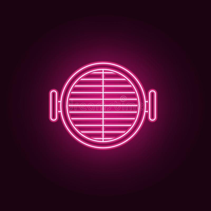Grill neonowa ikona Elementy kuchnia set Prosta ikona dla stron internetowych, sie? projekt, mobilny app, ewidencyjne grafika royalty ilustracja