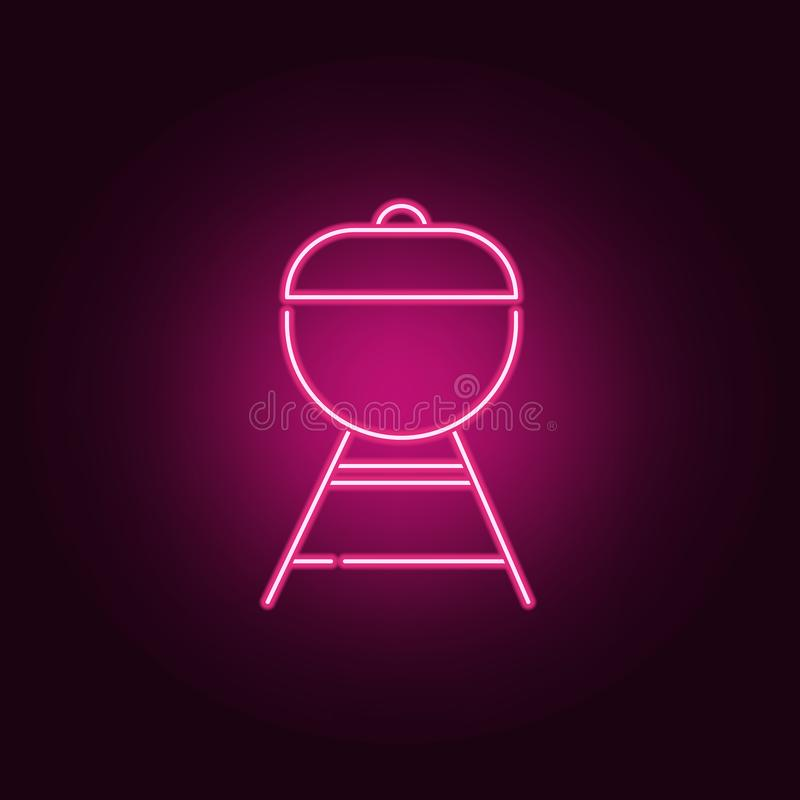 Grill neonowa ikona Elementy kuchnia set Prosta ikona dla stron internetowych, sie? projekt, mobilny app, ewidencyjne grafika ilustracji
