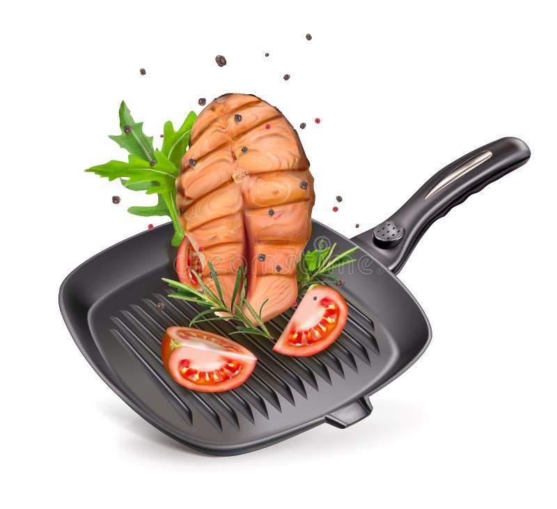 grill niecka z łososiem royalty ilustracja