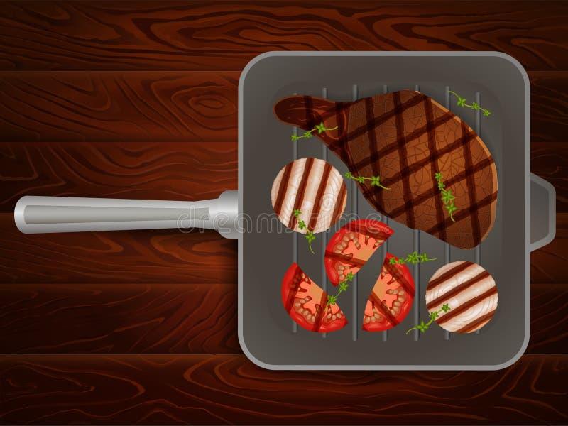Grill niecki mięsnego stku pomidorowa cebulkowa macierzanka ilustracja wektor