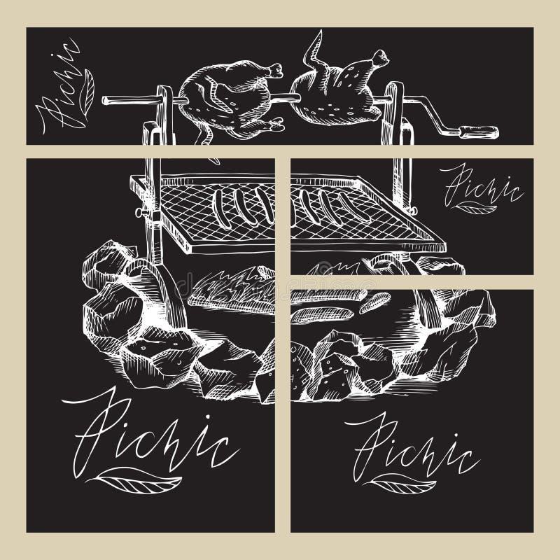 Grill, ogień, pieczony kurczak i kiełbasy, Kredowy ręka rysunek Set biznesowi formaty z wizerunkami dla pinkinu w royalty ilustracja