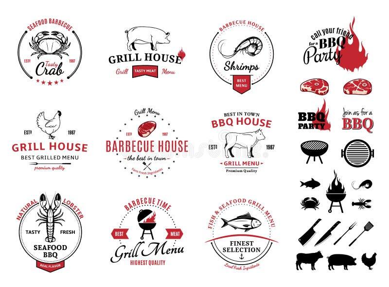 Grill, owoców morza logowie, etykietki i projektów elementy, royalty ilustracja
