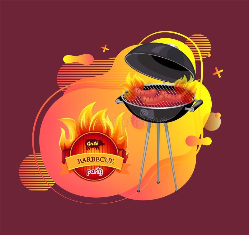 Grill-Partei Cookout und Grillen des Fahnen-Vektors vektor abbildung