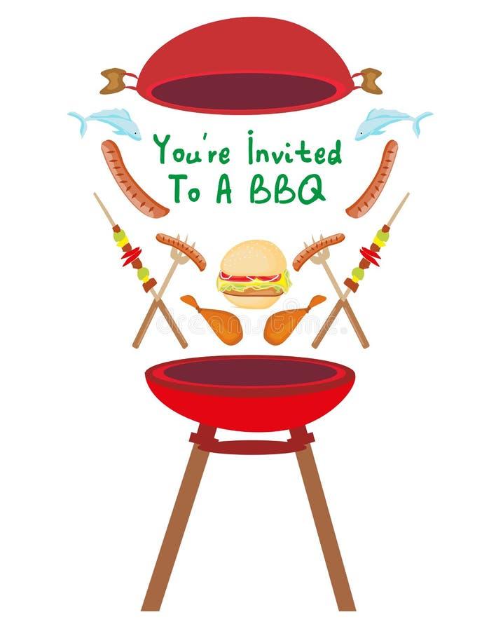 Grill-Partei-Einladungsfahne stock abbildung