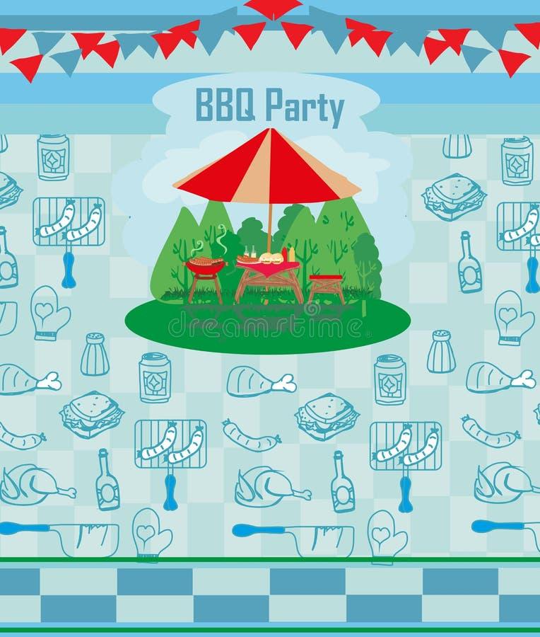 Grill-Partei-Einladungskarte lizenzfreie abbildung
