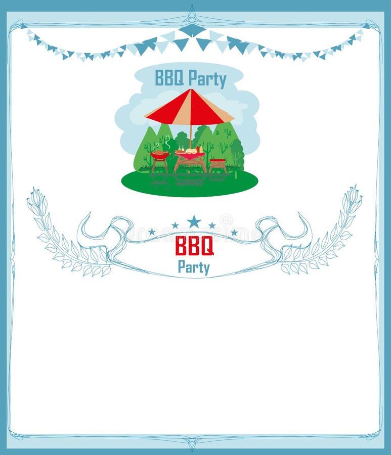 Grill-Partei-Einladungskarte stock abbildung