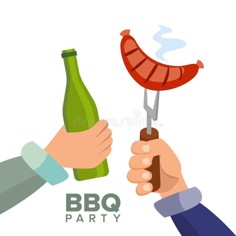 Grill-Partei-Konzept-Vektor Gekochte heiße Wurst Hand, die eine Flasche Bier hält Einladungskarte _1 Bbq-Grill-Picknick stock abbildung