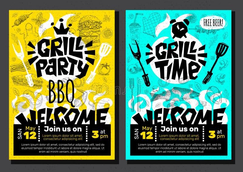 Grill-Partei-Zeit BBQ-Lebensmittelplakat Gegrilltes Lebensmittel, Fleischfischgemüse grillen Gerätegabelmesserhühnergarnelen-Zitr stock abbildung
