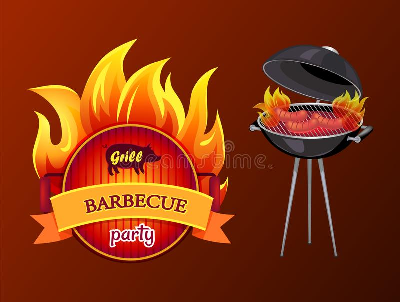 Grill Party Barbecue Roaster Vector Illustration. Grill party barbecue and roaster with grill grid and sausages on fire. Frying pan with fire and text isolated royalty free illustration