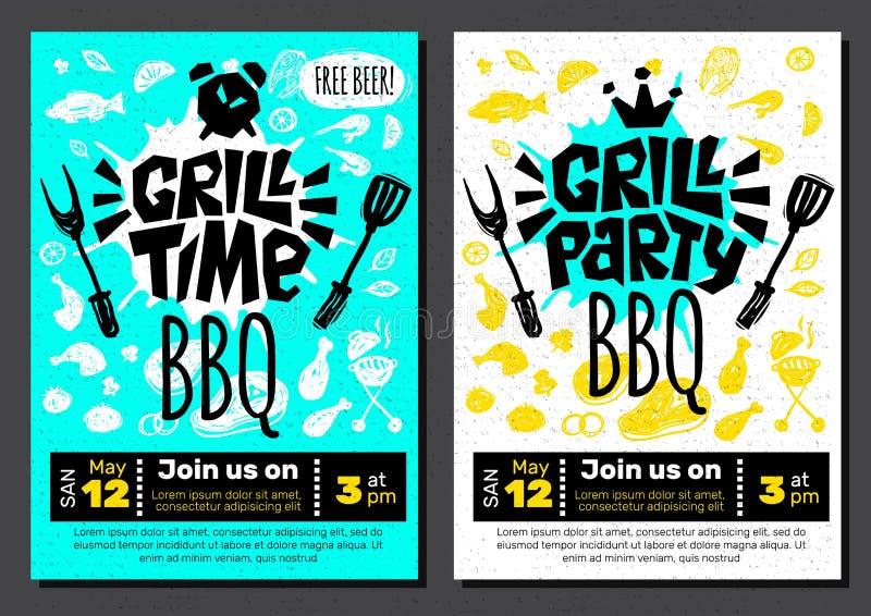 Grill Party Time BBQ food poster. Grilled food, meat fish vegetables grill appliance fork knife chicken shrimps lemon spice. stock illustration