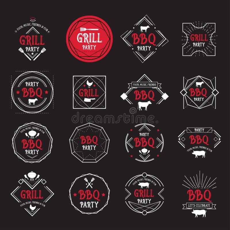 Grill partyjna ikona BBQ menu projekt royalty ilustracja
