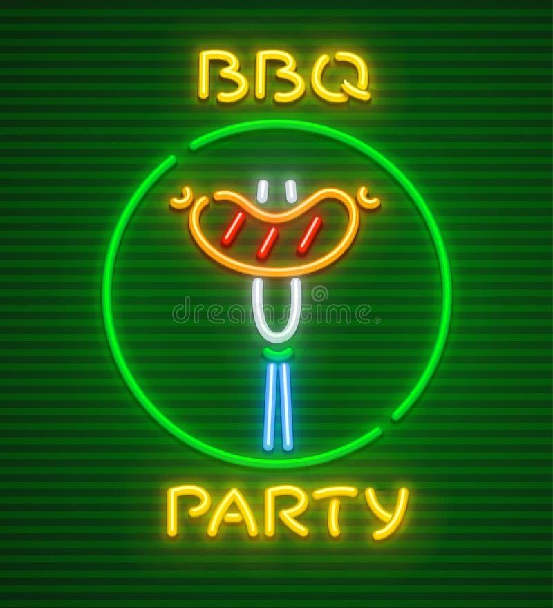 Grill partyjna neonowa ikona piec przy grillem royalty ilustracja