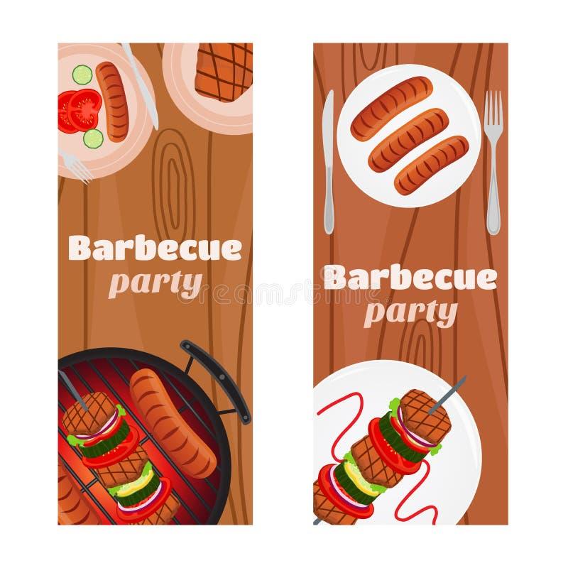 Grill partyjne ulotki, zaproszenie sztandar Smażący mięso, kiełbasy ilustracji