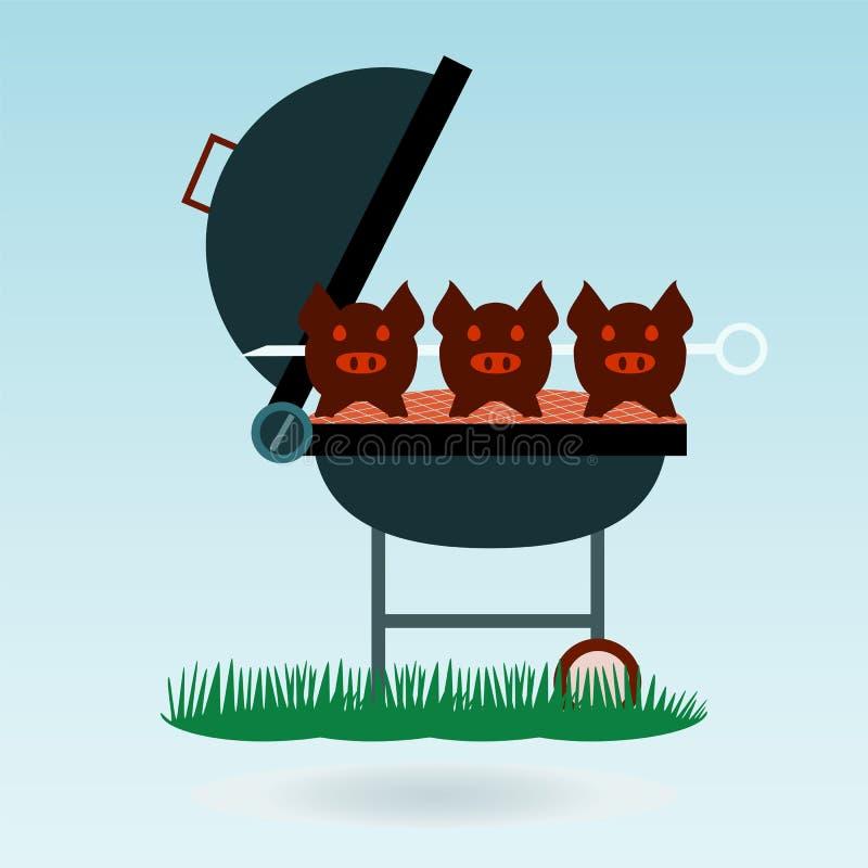 grill Piec na grillu świnie na rozwidleniach royalty ilustracja