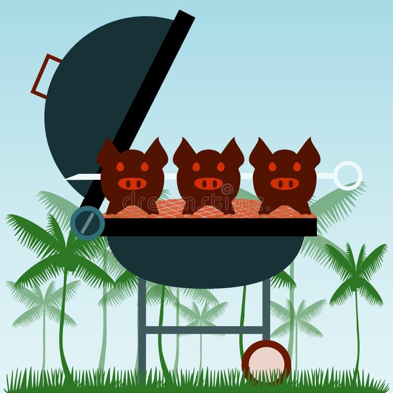grill Piec na grillu świnie na rozwidleniach ilustracja wektor