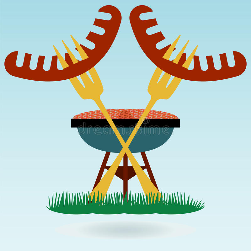 grill Piec na grillu kiełbasa ilustracji